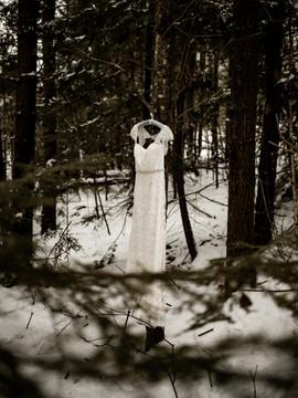 Wedding dress hanging in woods in Adirondacks