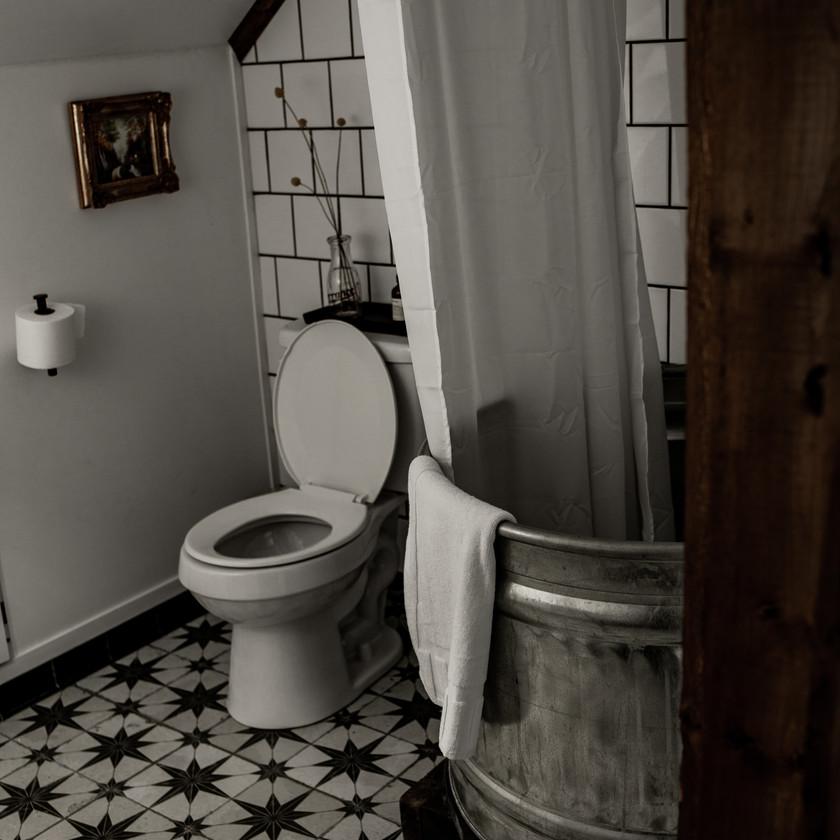 Warner's Camp in Lake Placid, upstairs bathroom, rustic galvanized bucket shower
