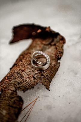 Wedding rings at winter ADK elopement