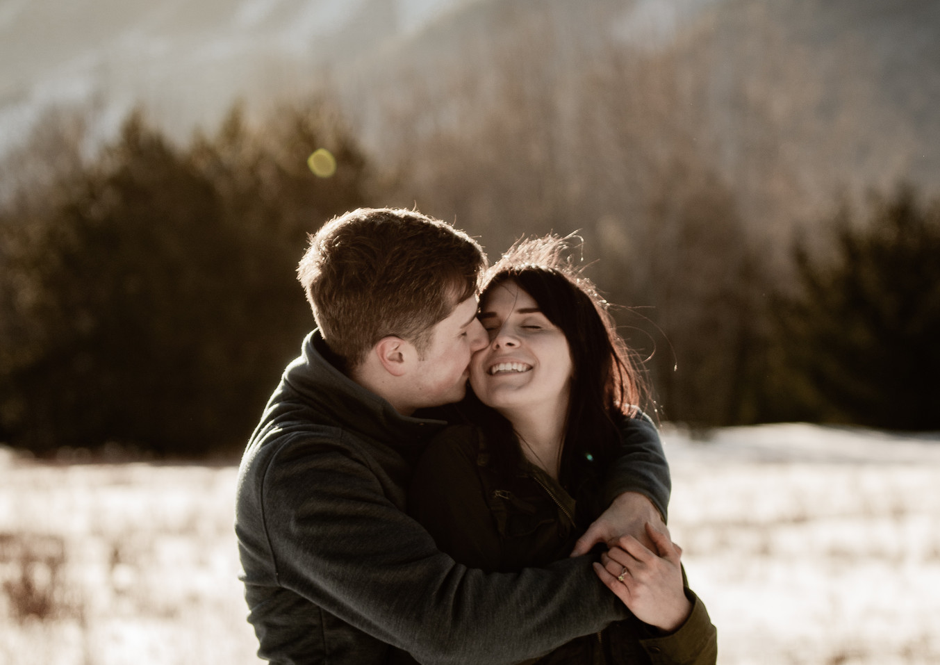 Winter engagement photos in Lake Placid