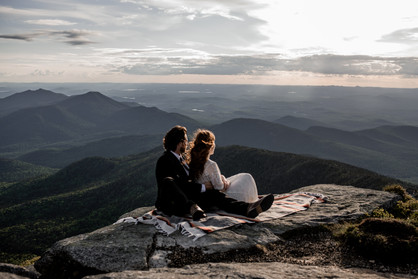 Wedding photos on top of Whiteface Mountain