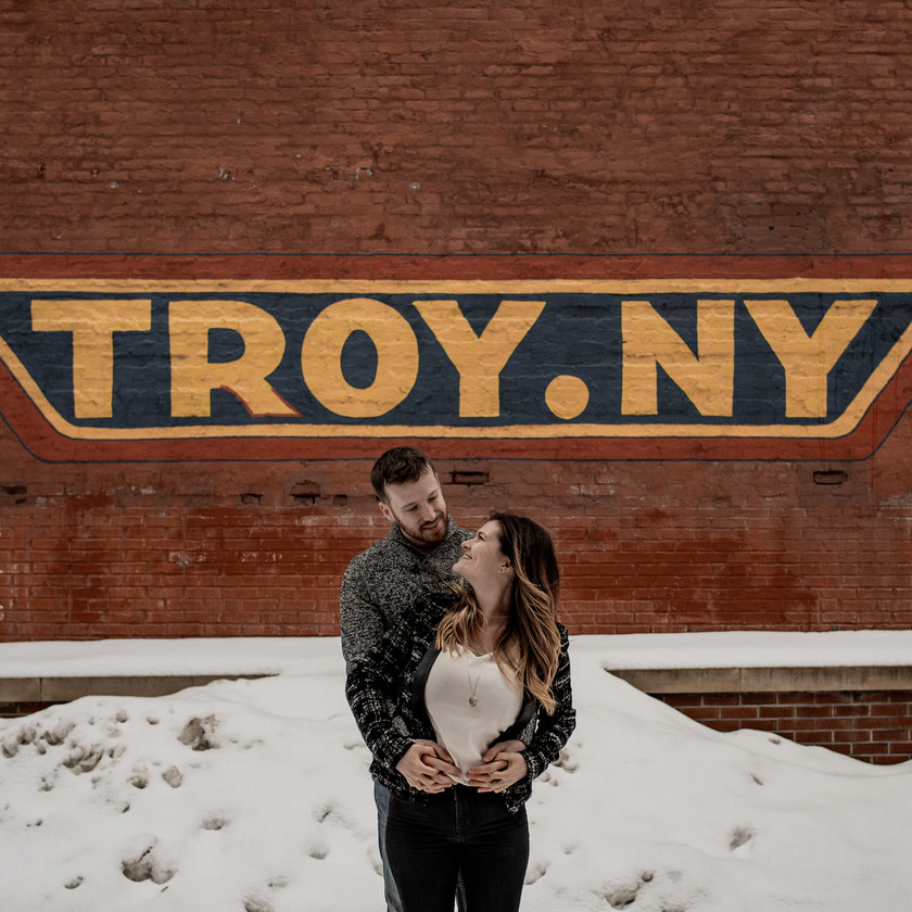Troy NY wall mural engagement photo