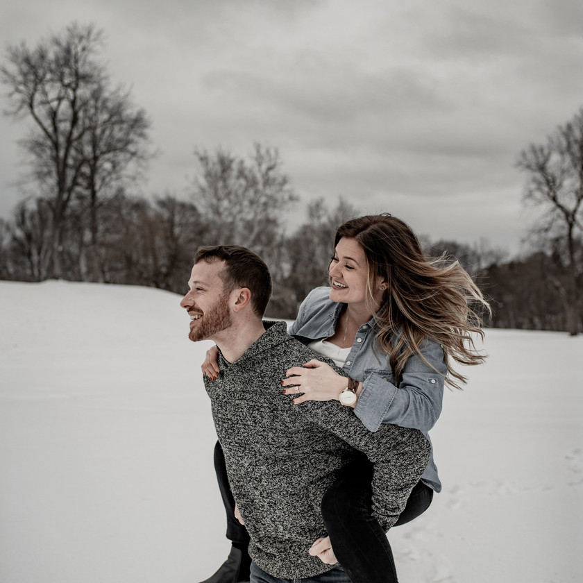 Fun winter engagement photography session in Troy NY