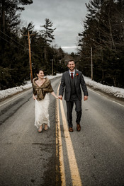 Bride and groom portrait in the Adirondacks