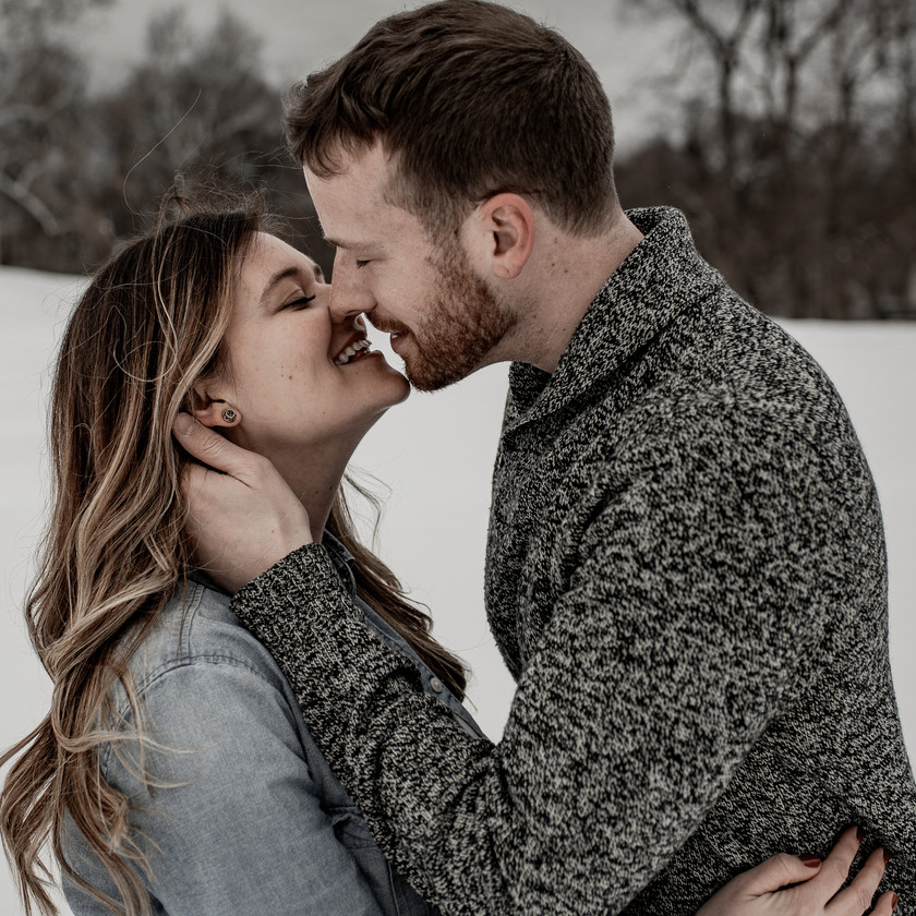 Intimate almost kissing picture in Troy NY in the winter