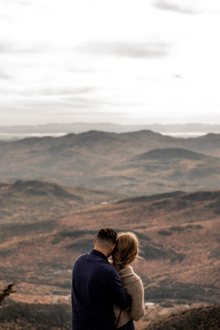 Sydney and Dave's engagement photos on Whiteface Mountain before their intimate wedding