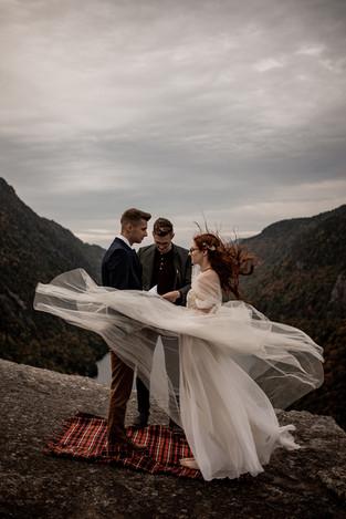 Mountaintop wedding in the Adirondacks officiated by Dan Pinckard
