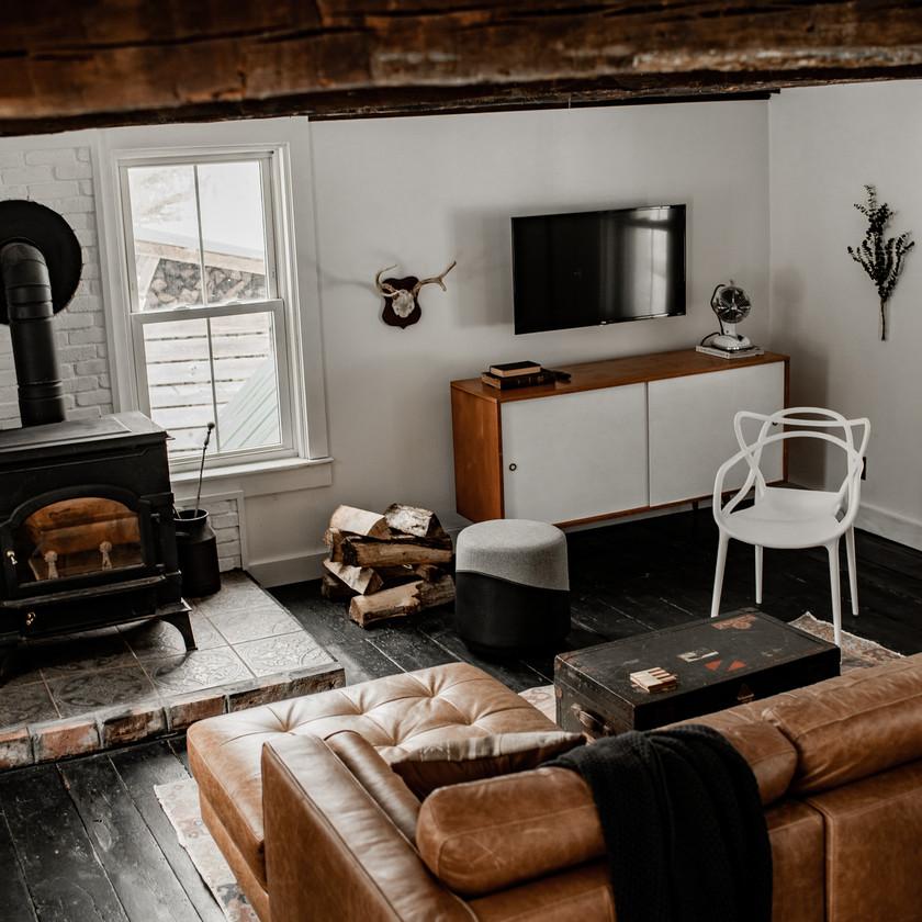 Warner's Camp getaway in Lake Placid, Adirondack Mountains, Living room