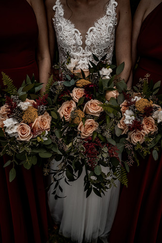 Moody wedding flowers photo