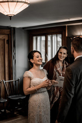 Wedding ceremony in Friends Lake Inn in the ADK mountains