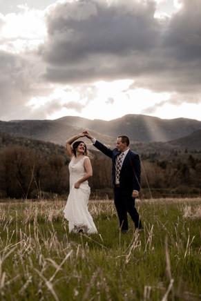 Laura Pinckard LLC - Bride and Groom dancing after their ADK elopement