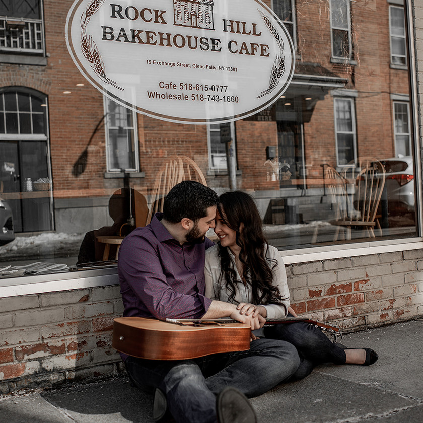 Engagement photo with guitar in Glens Falls NY