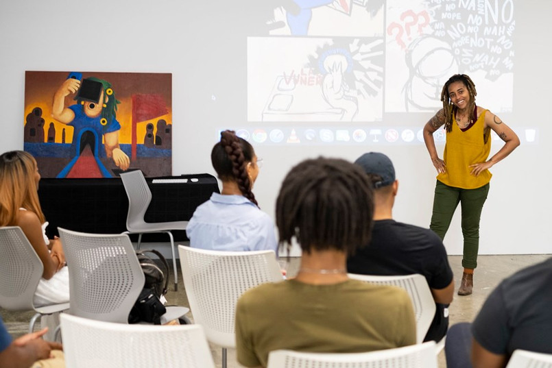 MecSaiel Solehman SFQP artist talk at Atlanta Contemporary. Photo by Kasey Medlin.
