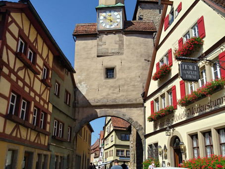 Rothenburg ob der Tauber.A striking medieval town-between roses and swards