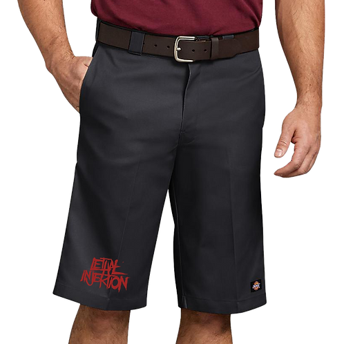 "Lethal Injektion 13"" Dickies Shorts Pre Sale Red Print"