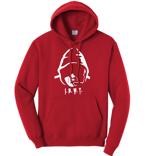 I.B.W.T.  Red Hoodie White Print