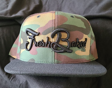 FBT Classic Camo Black Flatbill with 3D Embroidery