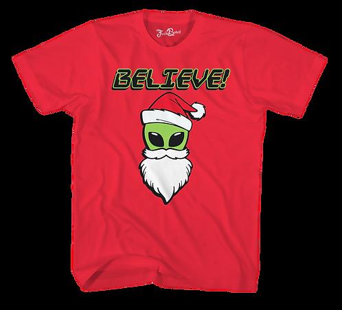 Alien Christmas Tee Red