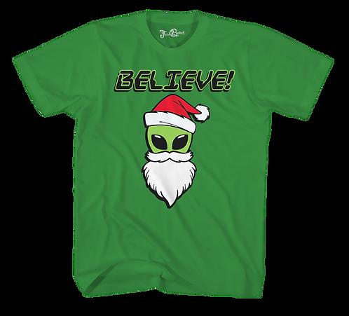 Alien Christmas Tee Green
