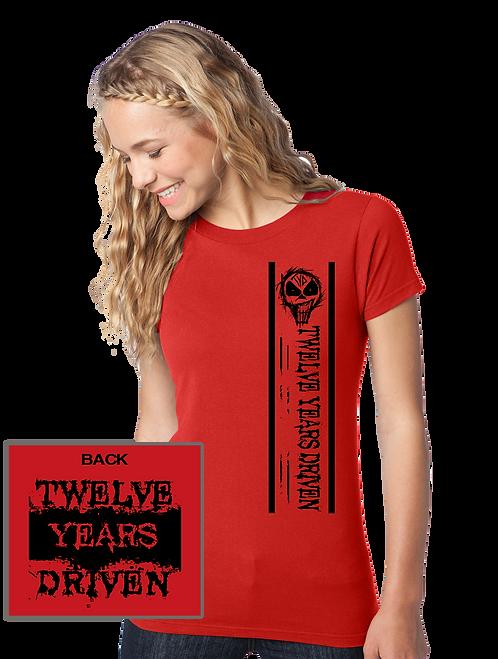 TYD Left Stripe Red Girls Tee
