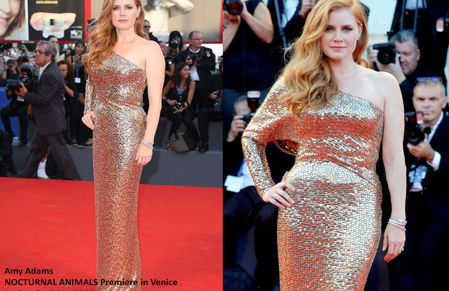"Amy Adams at ""Nocturnal Animals"" premiere in Venice wearing black gold - Project for TOM FORD - pattern making - dressmaking - fitting / tailoring - managing - garment technology consult"