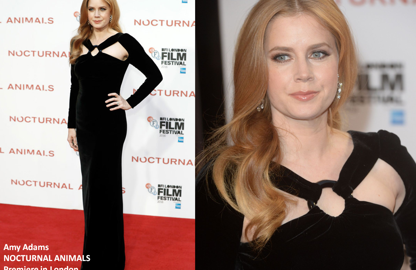 "Amy Adams at ""Nocturnal Animals"" premiere in London wearing black velvet gown - Project for TOM FORD - pattern making - dressmaking - fitting / tailoring - managing - garment technology consult"
