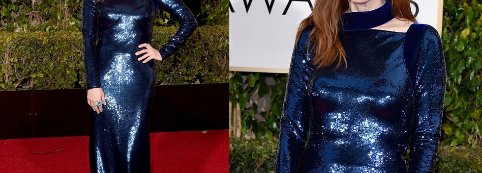 Julianne Moore at Golden Globes 2015 wearing blue gown - Project for TOM FORD - pattern making - dressmaking - fitting / tailoring - managing - garment technology consult