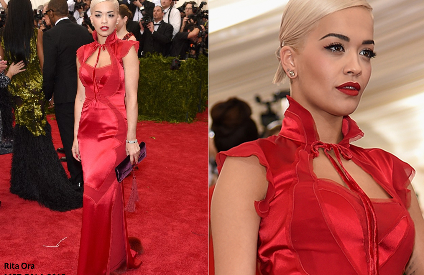 Rita Ora at the MET GALA 2015 wearing red gown - Project for TOM FORD - pattern making - dressmaking - fitting / tailoring - managing - garment technology consult