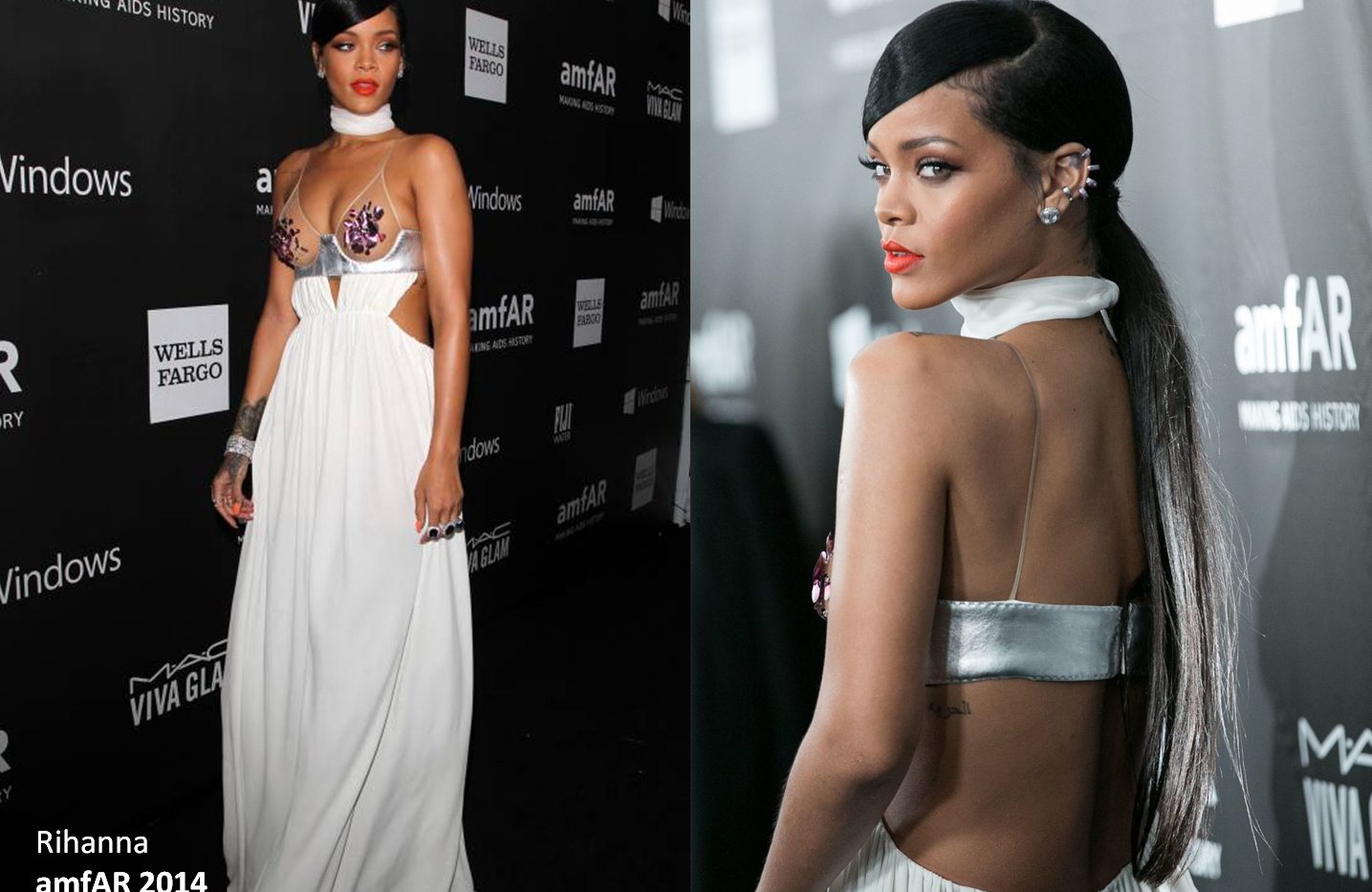 Rihanna at the amFAR 2014 wearing white gown - Project for TOM FORD - dressmaking - tailoring