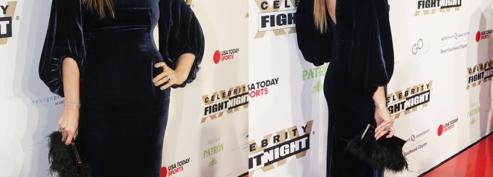 Eva Halina Rich at the Celebrity Fight Night wearing dark blue gown - Project for  EWELINEB - design - pattern making - dressmaking - fitting / tailoring