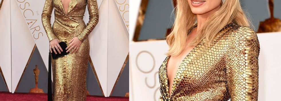 Margot Robbie at the Oscars 2016 wearing gold gown - Project for TOM FORD - pattern making - dressmaking - fitting / tailoring - managing - embroidery - garment technology consult