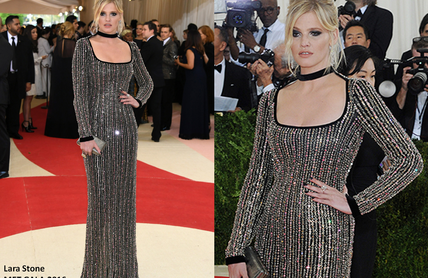Lara Stone at the MET GALA 2016 wearing black crystals gown - Project for TOM FORD - dressmaking - fitting / tailoring - managing - garment technology consult