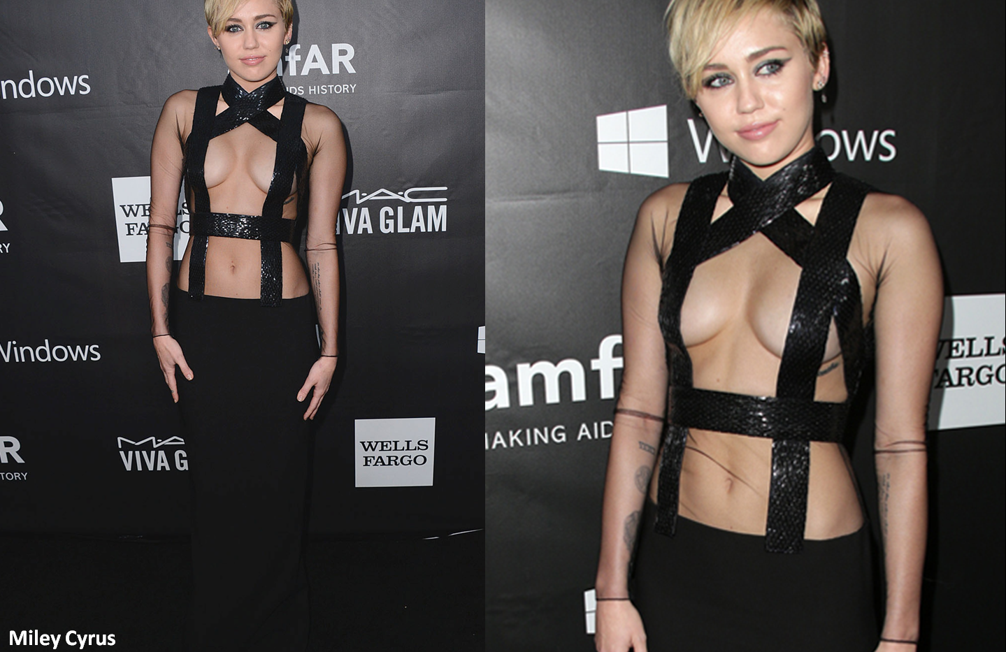Miley Cyrus at the amFAR 2014 wearing lack dress - Project for TOM FORD - dressmaking - tailoring