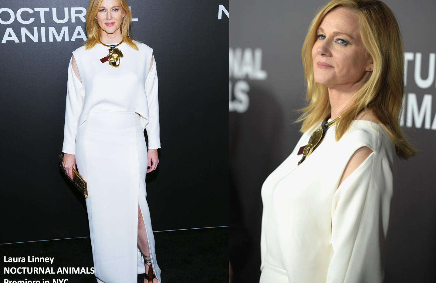 "Laura Linney at ""Nocturnal Animals"" premiere in NewYork wearing white gown - Project for TOM FORD - pattern making - dressmaking - fitting / tailoring - managing - garment technology consult"