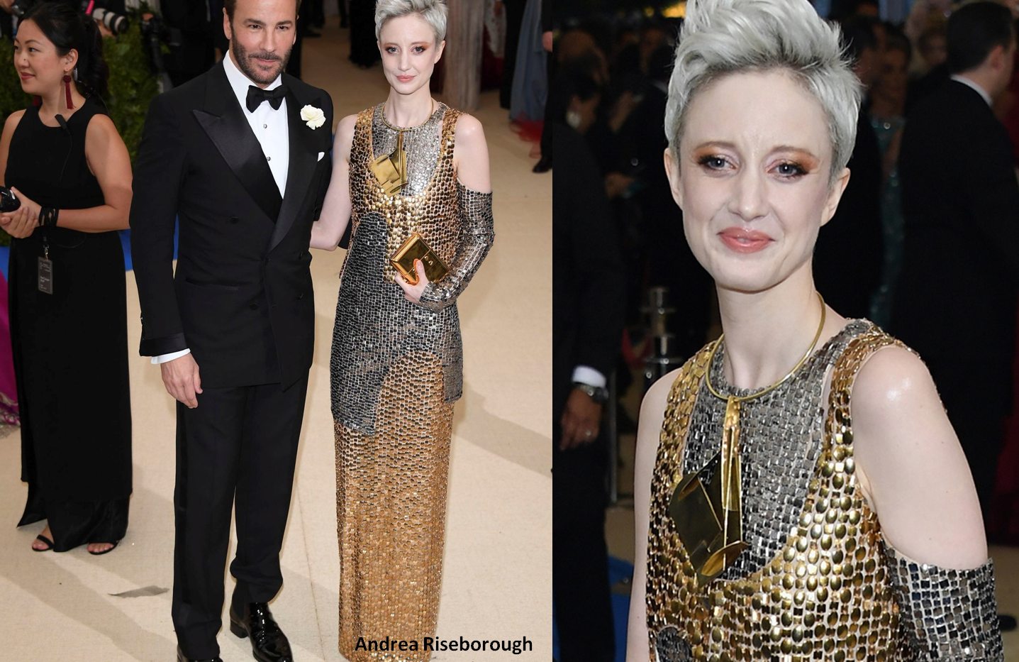 Andrea Riseborough at the MET GALA 2017 wearing silver/gold gown - Project for TOM FORD - pattern making using OPTITEX - dressmaking - fitting / tailoring - managing - garment technology consult