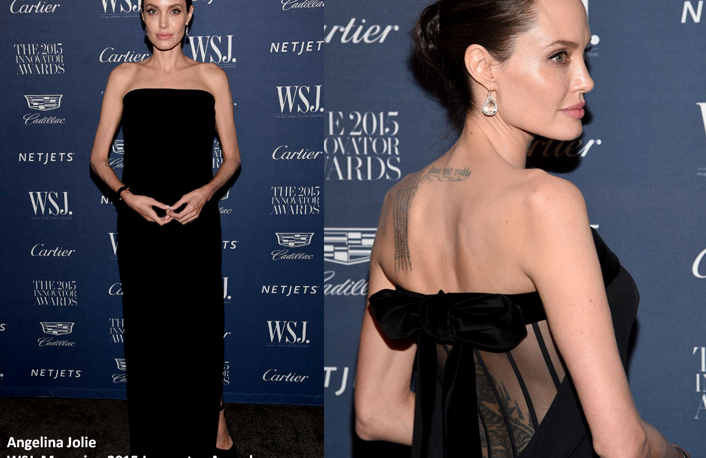 Angelina Jolie at the WSJ. Magazine 2015 Innovator Awards wearing black gown - Project for OM FORD - pattern making - dressmaking - fitting / tailoring - managing - garment technology consult