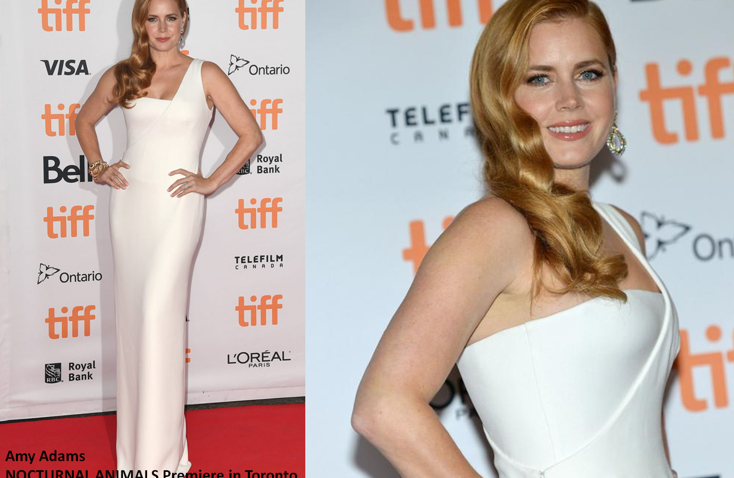"Amy Adams at ""Nocturnal Animals"" premiere in Toronto wearing white gown - Project for TOM FORD - pattern making - dressmaking - fitting / tailoring - managing - garment technology consult"