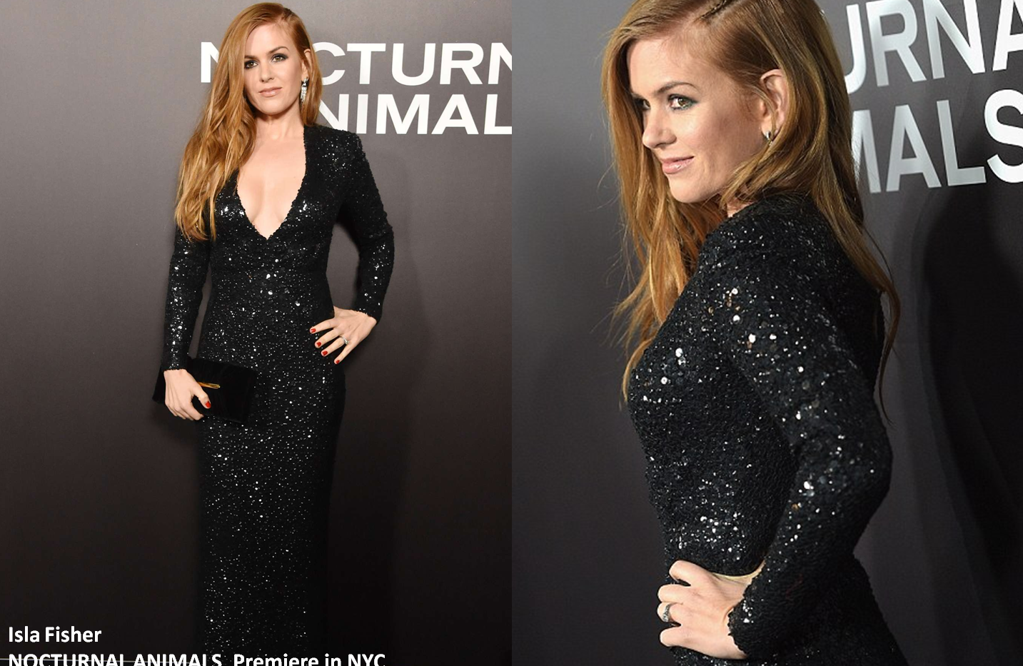 "Isla Fisher at ""Nocturnal Animals"" premiere in NewYork wearing black cequines gown - Project for TOM FORD - pattern making - dressmaking - fitting / tailoring - managing - garment technology consult"
