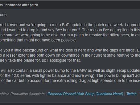 Urgent: GT4 Balance of Performance