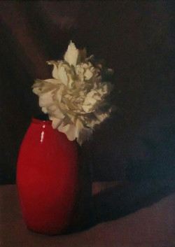 White Flower in Red Vase