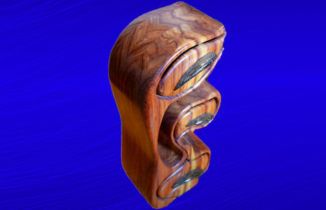 Canary Wood With Black Palm Drawer Pulls