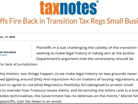 Small businesses fire back in Transition tax lawsuit