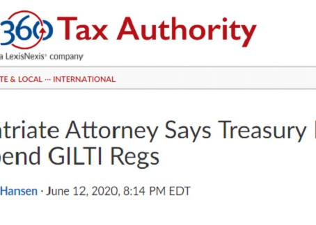 Law360 covers GILTI lawsuit