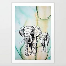 Ktafttier Elefant Aquarell Karla Johanna Schaeffer