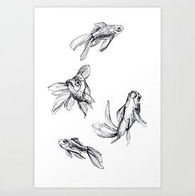 Krafttier Fisch Tusche Karla Johanna Schaeffer