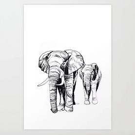 Krafttier Elefant Tusche Karla Johanna Schaeffer