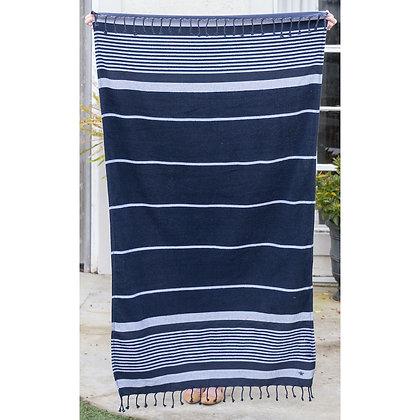 Bahama Stripe Turkish Towel in Navy
