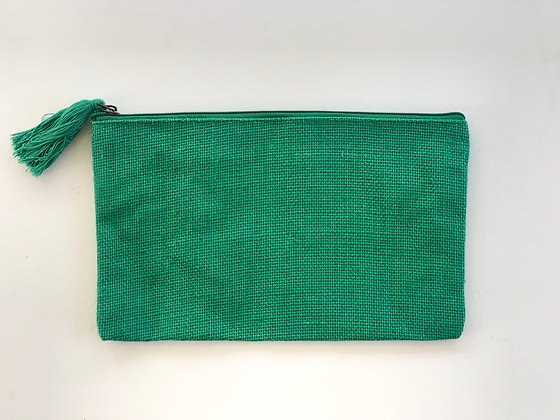 Kelly Green Jute Cosmetic Bag