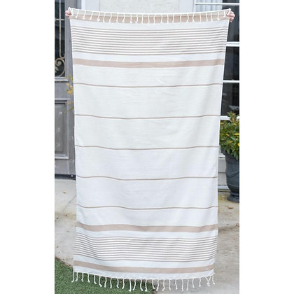 Bahama Stripe Beach Towel in Tan