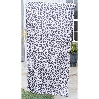 Leopard Microfiber Beach Towel in Black/Shell